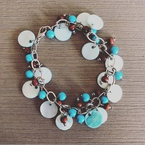 Jewelry - Metal turquoise and copper bracelet